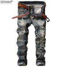 Newsosoo новый мода ретро отверстие патч джинсы для мужчин В Европе и Америке slim fit прямые джинсы брюки привет-улица MJ39
