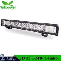 23Inch 7D 324W 3 Row LED Light Bar Offroad Led Bar Combo Beam Led Work Light Bar for Truck SUV ATV 4x4 4WD 12v 24V Work Lamp