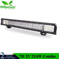 23Inch 7D 324W 3 Row LED Light Bar Offroad Led Bar Combo Beam Led Work Light Bar for Truck SUV ATV 4x4 4WD 12v 24V Work Lamp
