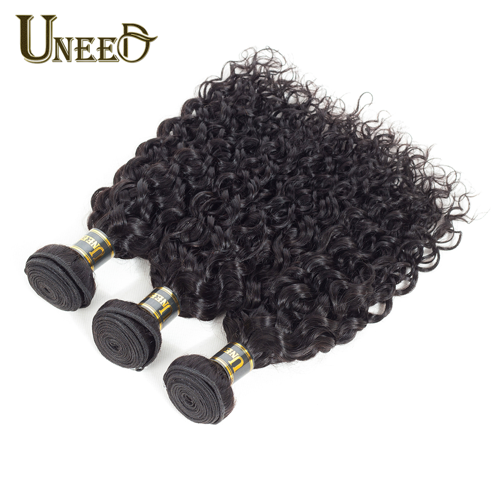 Uneed Peruvian Water Wave Human Hair Weave Bundles 1 Piece Only Natural Black Color Remy Hair Extensions 10-26inch Free Shipping