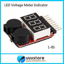 1pc 1-8S Lipo/Li-ion/Fe RC helicopter airplane boat etc Battery Voltage 2 IN1 Tester Low Voltage Buzzer Alarm