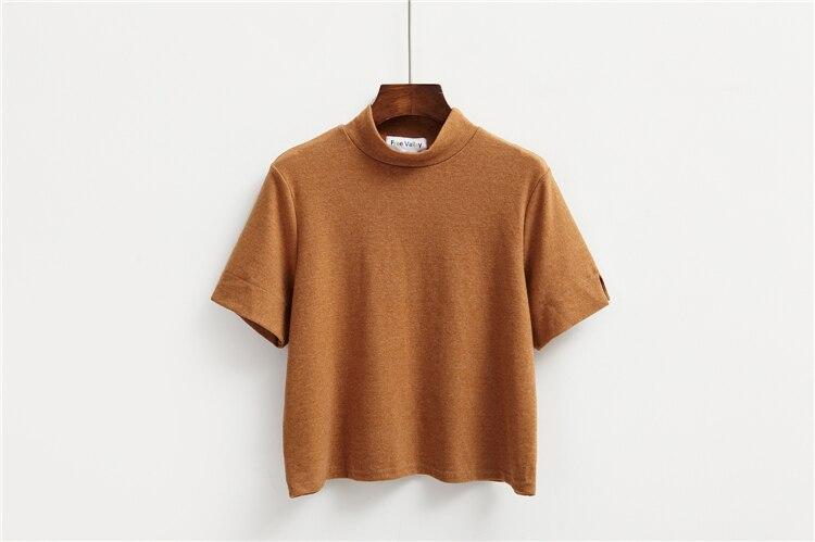 HTB1Z7f5LVXXXXbQaXXXq6xXFXXXA - Summer T-Shirt Short Style Casual Stand Collar
