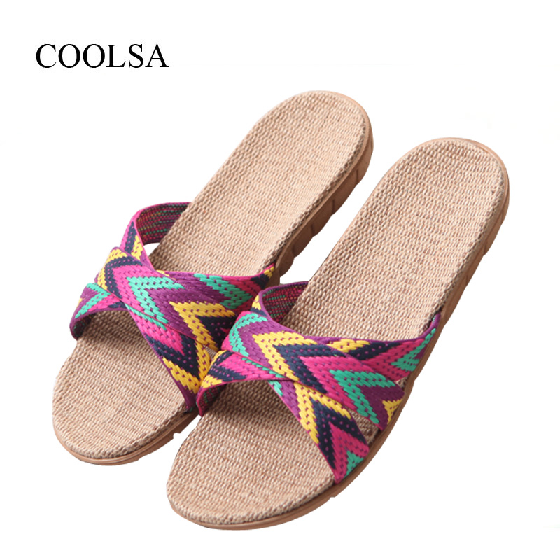 COOLSA Women's Summer Flat Cross-belt Linen Slippers Breathable Indoor Slippers Women's Multi-colors Non-slip Beach Flip Flops coolsa women s summer flat non slip linen slippers indoor breathable flip flops women s brand stripe flax slippers women slides