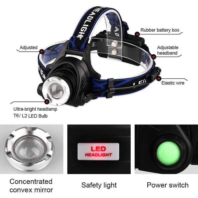 Dropshippingpotente T6 L2 faros Zoom impermeable 18650 batería recargable Led lámpara principal Camping senderismo Luz