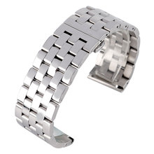 High Quality 24mm 26mm Solid Stainless Steel Men Watch Band Deployment Silver Bracelet Male Wrist Strap