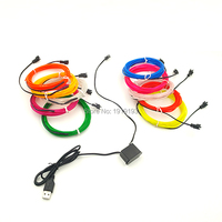 EL Wire 15Meters 2.3mm 10 Color Choice Car Party Decorative LED Strip With DC5V USB el controller Flexible Neon Light Rope Tube