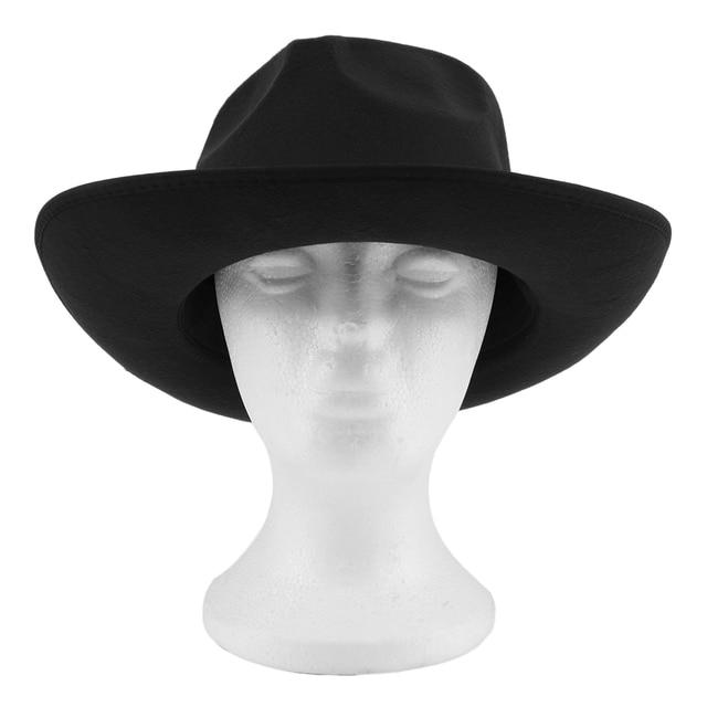 e8310e1e8bfa5e New Women Vintage Hard Felt Hat Wide Brim Fedoras Trilby Wide Brim Panama  Hat Gangster Sun Cap Hot