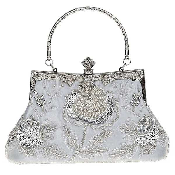 Women Antique Beaded Rose Evening Purse Clutch Handbag,Silver and black