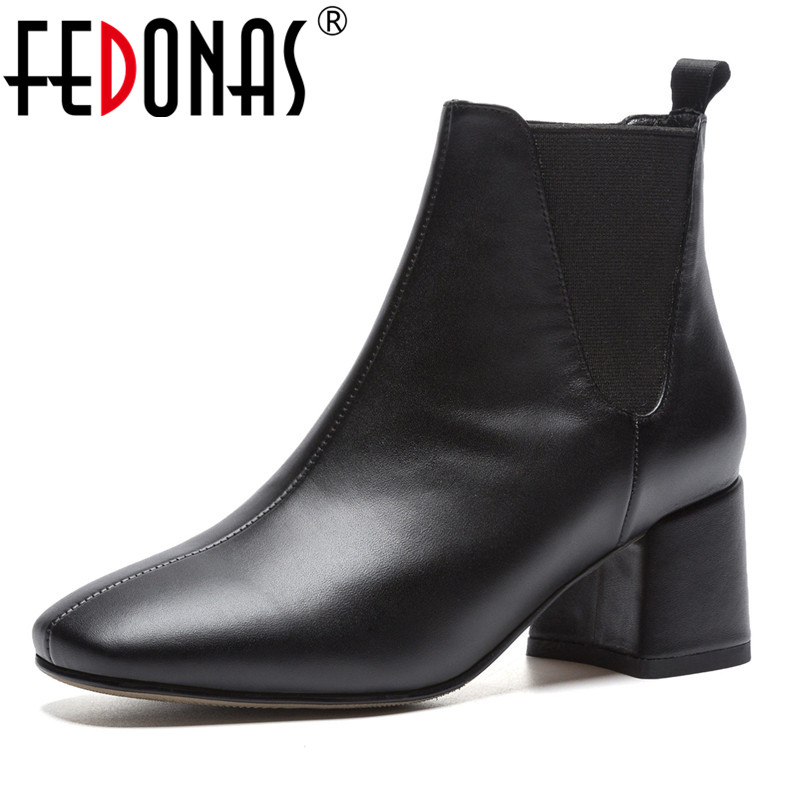 7c282cfb9f39 FEDONAS Brand Women Thick High Heels Ankle Boots Square Toe Autumn Winter  Martin Shoes Woman Black White Short Plush Basic Boots