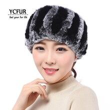 YCFUR для женщин повязка на голову зима осень Эластичный Настоящий мех кролика повязки на голову для девочек шейный шарф