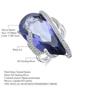 Image 5 - Mücevher bale 20Ct doğal Iolite mavi mistik kuvars yüzük 925 ayar gümüş Vintage kokteyl yüzükler kadınlar için güzel takı
