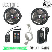 SMD RGB LED Strip Licht 5050 RGB 4 M 5 M 8 M 10 M led niet waterdicht echts smd lamp tape Led String Remote DC12V Power Kit