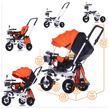 Foldable Children's Tricycle Baby Stroller Bicycle Swivel Chair Baby Wheelchair Reverse Three Wheels Stroller