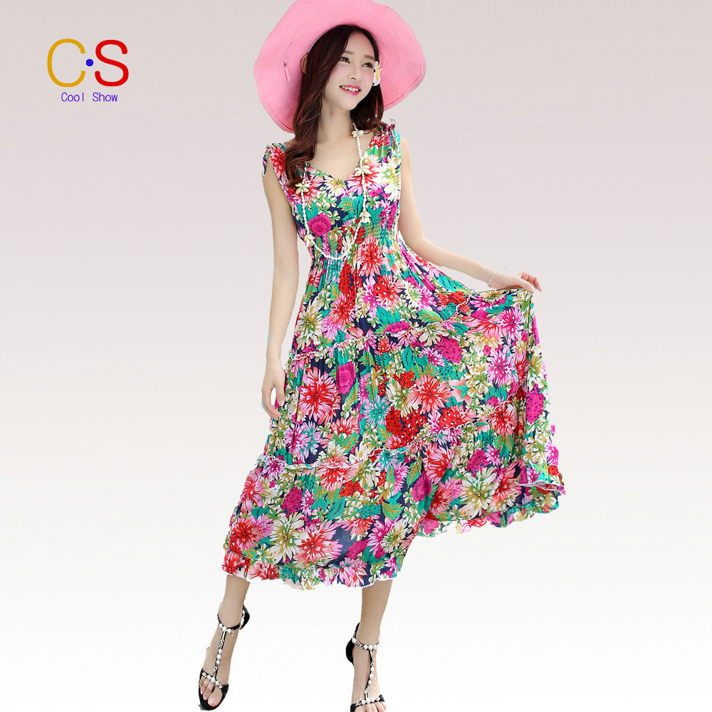 Online casual v collar floral printed loose maxi dress online material