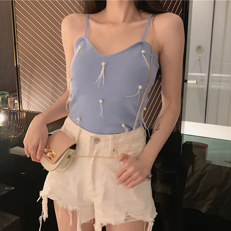 Tank Top Women Summer Casual Basic Sexy Versatile Slim Pearl Feather Sling Bottoming Stretch Camisole Tops in Tank Tops from Women 39 s Clothing