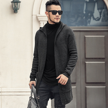 Men's Autumn Winter British Style Long Hooded Knitted Cardigan Shawl Men's Black Casual Woolen Cotton Cardigan Sweater New J771