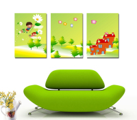 Free Shipping 3Pcs Abstract Cartoon Printed Oil Painting On Canvas Wall Art Picture Sticker Living Room