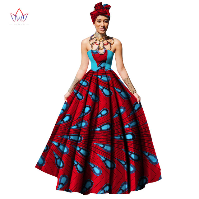Womens African Dress Dashikis Print Ball Gown Party Dress Maxi and ...