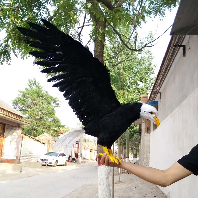 big simulation black wings eagle model foam&furs white head&tail eagle gift about 90x45cm 1542 big sitting simulation white cat model plastic