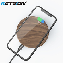 KEYSION  Wooden 10W Qi Fast Wireless Charger for iPhone XS Max XR X 8 Plus Wireless Charging Pad for Samsung S10 S9 Xiaomi mi 9 mi wireless charging pad
