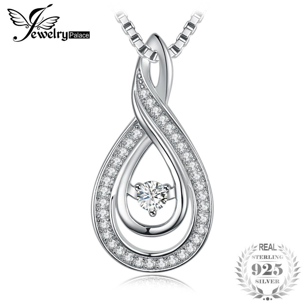JewelryPalace Fashion 0.3ct Cubic Zirconia Pendant 925 Sterling Silver Pendant With a Chain 45cm Best Gift for Women Jewelry inzatt vintage geometric gold heart square pendant necklace 925 sterling silver fashion jewelry 45cm 55cm chain for women gift