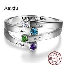 Amxiu на заказ любой размер кольцо персонализированные кольцо из стерлингового серебра 925 выгравировать четыре названия с камнями по рождению кольца для женщин подарок