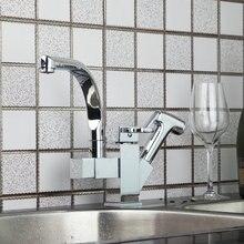 Кухня/ванна умывальник горячей и холодной хром Torneira Cozinha Pull Out Up & Down Chrome 92347SP038 одной ручкой Раковина кран смесителя