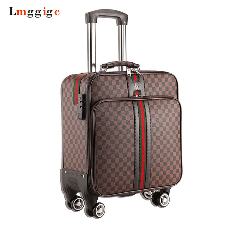 162024 inch Waterproof PU leather Rolling Luggage Travel Suitcase bag Women Trolley case Men Box with Wheel vintage suitcase 20 26 pu leather travel suitcase scratch resistant rolling luggage bags suitcase with tsa lock