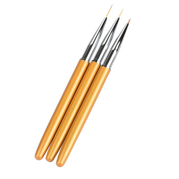 Fashion Makeup 3pcs Nail Form Pens 12cm Professional Nail Art Drawing Painting Pen Brush Detailer Liner Brush Beauty Cosmetic Health & Beauty