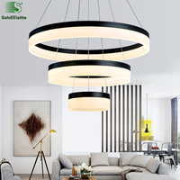 Modern Circle Acrylic Led Dimmable Pendant Light Lustre Luminaire Led Pendant Lamp DIY Black Indoor Lighting