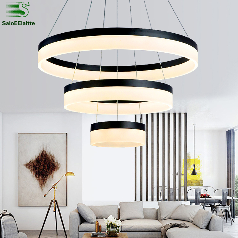 Modern Circle Acrylic Led Dimmable Pendant Light Lustre luminaria Led Pendant Lamp DIY Black Indoor Lighting Suspension Lamp