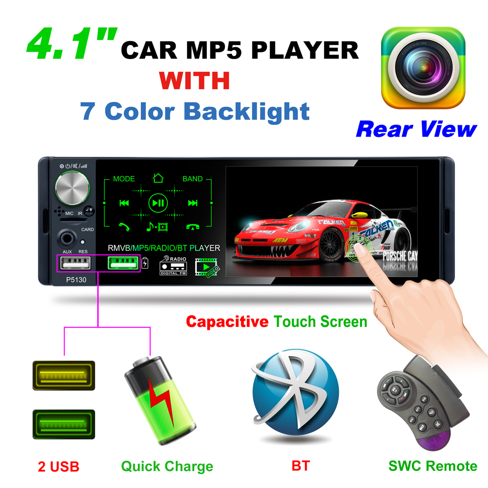 4.1 pouces écran tactile Bluetooth voiture MP5 lecteur Support RMVB/MP5/BT lecteur AM FM Radio RDS Micophone et caméra arrière voiture récepteur