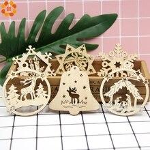 10PCS DIY Natural Snowflakes Deer Shape Christmas Wooden Chip Hanging Ornaments Pendants Xmas Kids Gifts Decorations