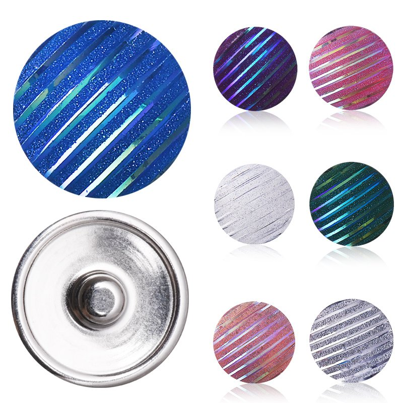 Striped Pattern Mix Color 10pcs Round Resin Snap Button Size 18mm for DIY Fashion Snap Jewelry Bracelet Bangle Findings