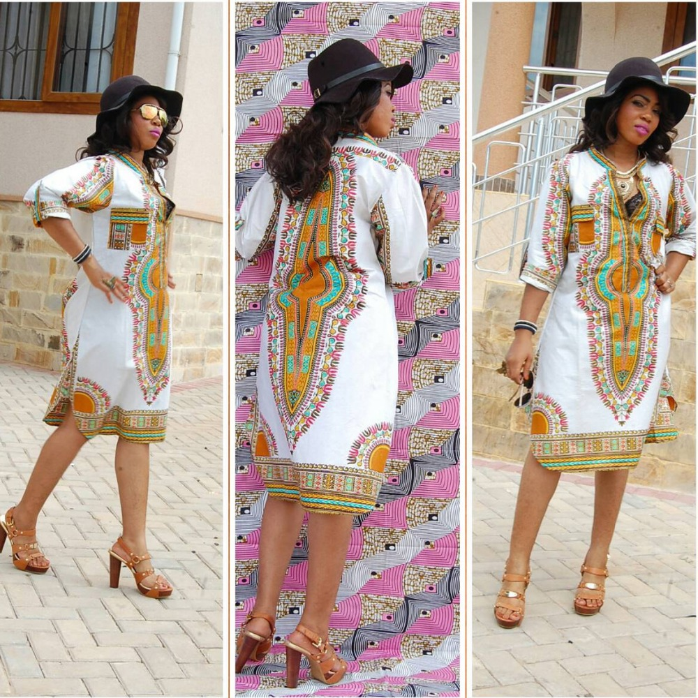 Africaine Traditional Dress Women Vintage Geometric print Dress Women Summe  plus size Casual Loose dresses-in Dresses from Women s Clothing on ... 515e6ac58c08