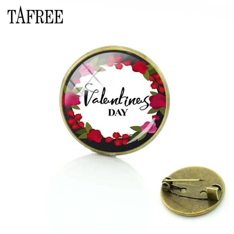 Tafree Cinta Anda Bahagia Hari Valentine 14 Februari Bros Pin Romantis untuk Wanita Kerah Gaun Syal Aksesoris Perhiasan FQ763