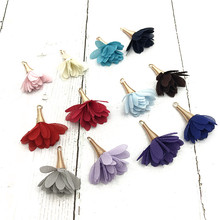 8pcs/bulk Vintage  Cloth Flower Tassels Charms for Making Jewelry Earrimgs Pompoms Pendants