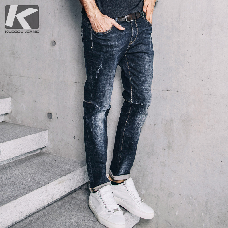 KUEGOU New Spring Mens Fashion Denim Pants Cotton Blue Color Pockets Brand Clothing For Slim Straight Jeans Male Trousers 72308 lenstid new italy classic blue denim pants men slim fit brand trousers male 2017 high quality cotton fashion jeans homme 6616