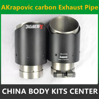 2PCS 76MM INLET- 101MM OUTLET Carbon Fiber Stainless Steel Universal Car Exhaust Pipe Tip Akrapovic Car Exhaust Muffler Tip bmw f30 akrapovic auspuffblende