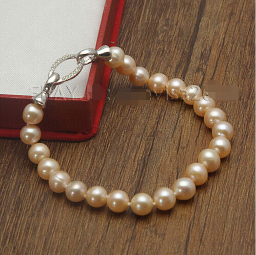 FREE shipping>GZ New Hot AAA 8-9mm Pink Cultured Freshwater Real Pearl Bracelet
