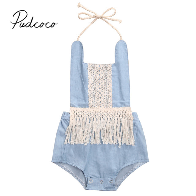 1ecceed9f250 2019 Children Summer Clothing Straped Bodysuits Toddler Newborn Baby Girls  Boys Jumpsuits Tassels Playsuits Backless Sunsuit