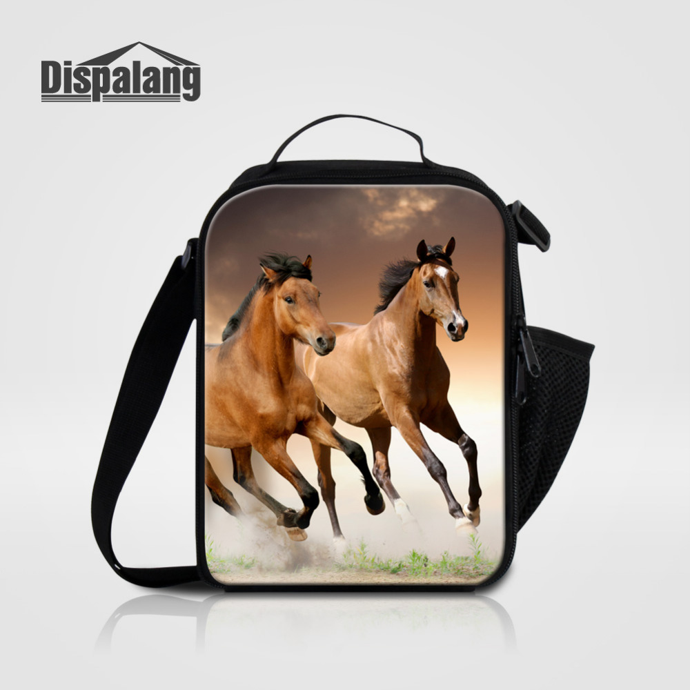 Dispalang Horse Animal Print Portable Kids Cooler Lunch Bag Thermal Insulated Food Picnic Lunch Bag For Women Men Lunch Box Tote