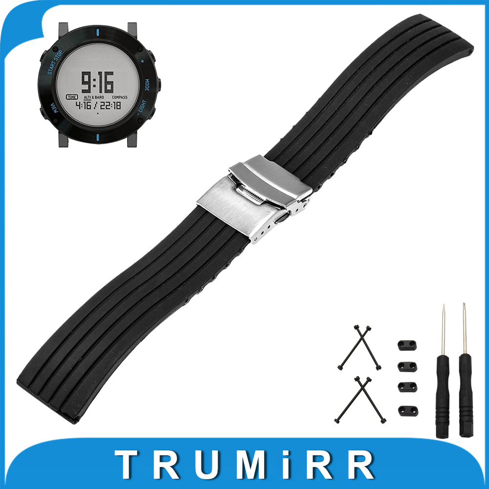 24mm Silicone Rubber Watch Band + Lug Adapter + Tool for Suunto Core Stainless Steel Safety Buckle Strap Wrist Belt Bracelet stainless steel watch band 24mm for suunto core safety clasp strap loop belt bracelet black rose gold silver tool lug adapter