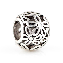 Фотография 10pcs Silver Alloy Beads Flower Shape Lovely DIY Big Hole Metal Beads Spacer Murano Bead Charm Fit For pandora charms Bracelet