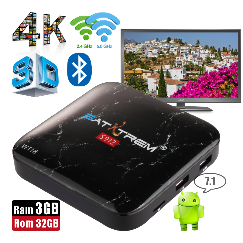 SatXtrem WT18 Ram 3GB Rom 32GB Amlogic 8-Core Android 7.1 Smart TV Box Bluetooth 4.0 Dual Wifi Set Top Box 4K HD 3D Media Player 2gb ram 32gb rom android 6 0 tv box amlogic s912 octa core tx8 metal case smart 4k 3d media player dual wifi bluetooth vs mi box