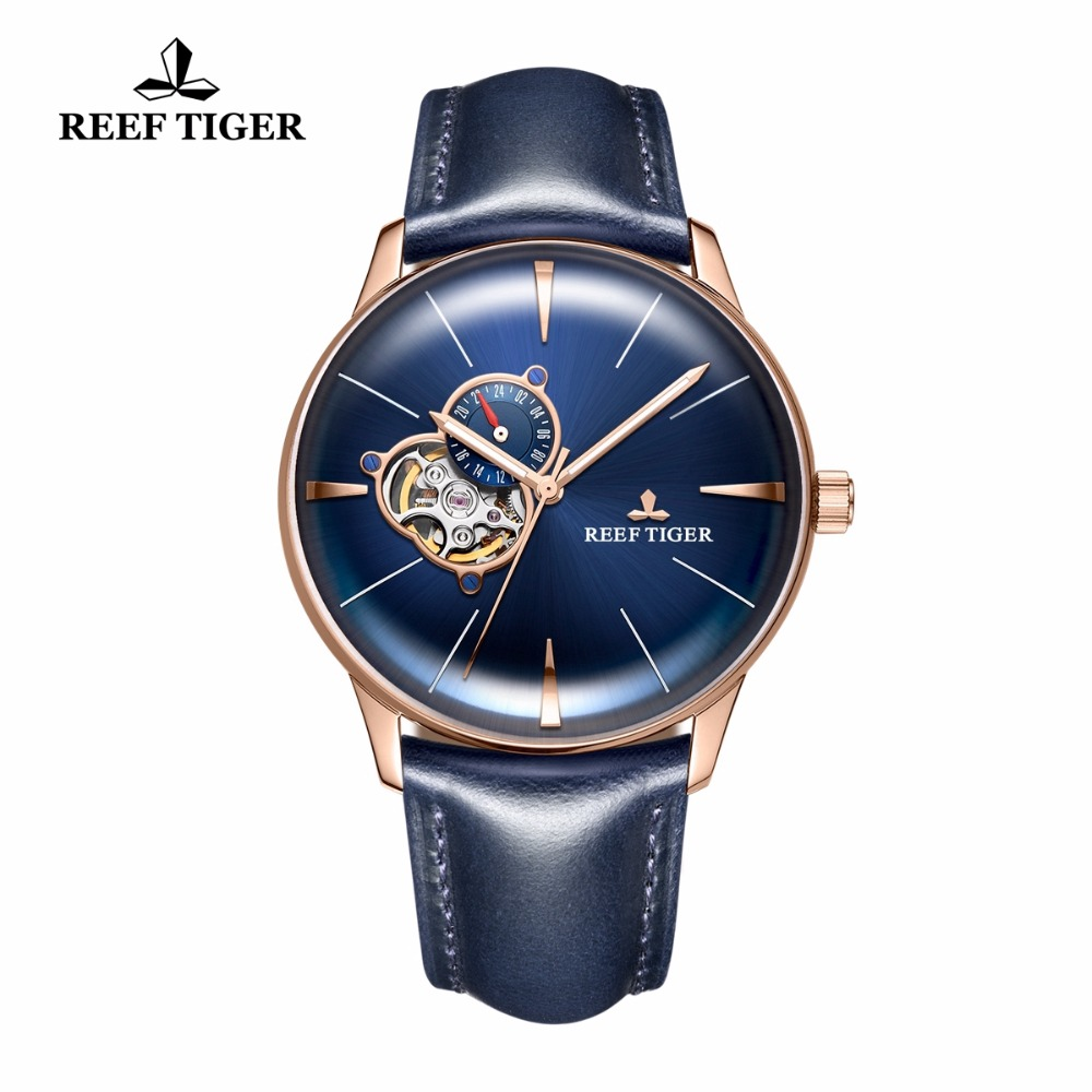 New Reef Tiger/RT Designer Casual Watches Rose Gold Blue Dial Convex Lens Automatic for Men RGA8239