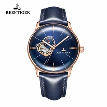 цена New Reef Tiger/RT Designer Casual Watches Rose Gold Blue Dial Convex Lens Automatic Watches for Men RGA8239 онлайн в 2017 году