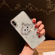 Glitter Powder Smile Face Clouds Phone Case For iPhone XS Max XR 6 6s 7 8 Plus X Diamond Soft TPU Dynamic Beads Cover