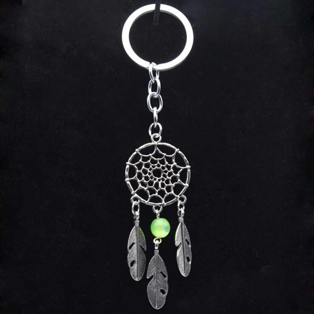 New 1pcs Dream Catcher Key Chain Ring Silver Color Dreamcatcher Keychain Ancient Leaf Feather Tassel New Hot