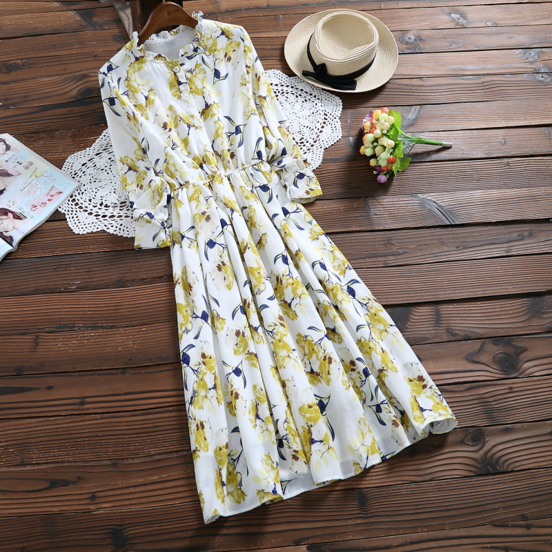 Spring Autumn Chiffon Vestidos 2018 Korean Fashion Women Long Sleeved Floral Print Dress ...